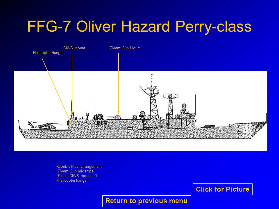 FFG-7 Oliver Hazard Perry-class CIWS Mount76mm Gun Mount Helicopter Hanger Double Mast arrangement 76mm Gun midships Single CIWS mount aft Helicopter hanger Return to previous menu Click for Picture