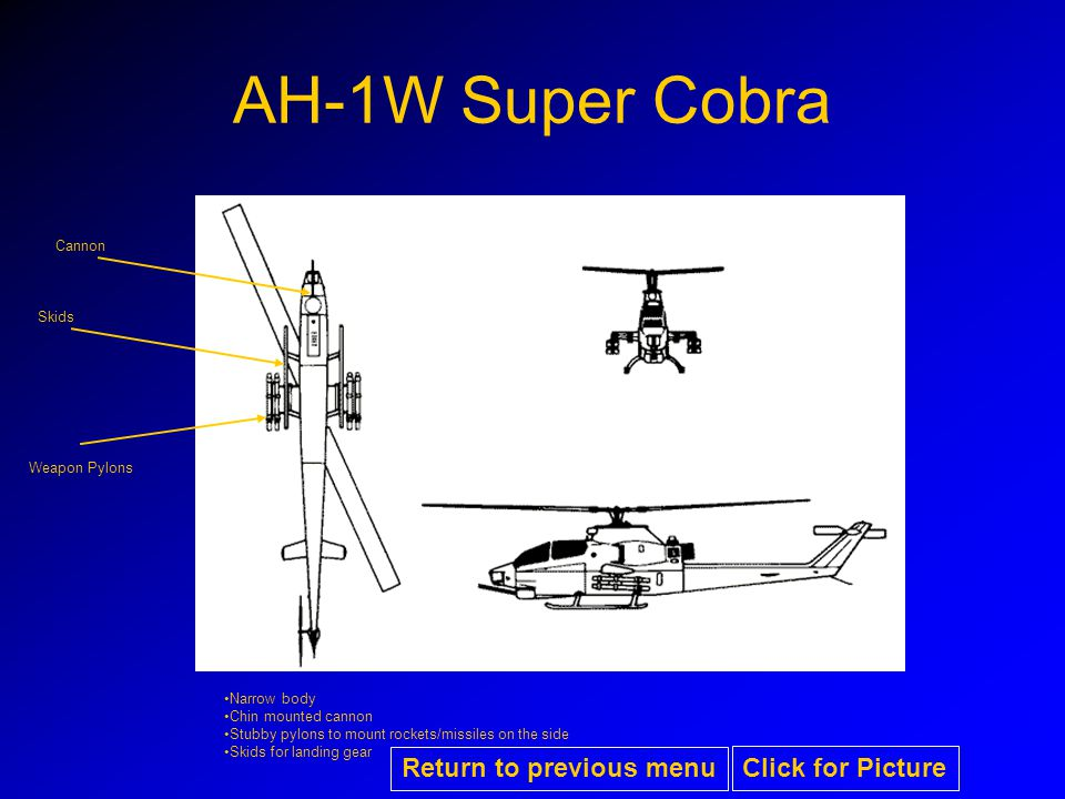AH-1W Super Cobra Narrow body Chin mounted cannon Stubby pylons to mount rockets/missiles on the side Skids for landing gear Skids Weapon Pylons Cannon Return to previous menu Click for Picture
