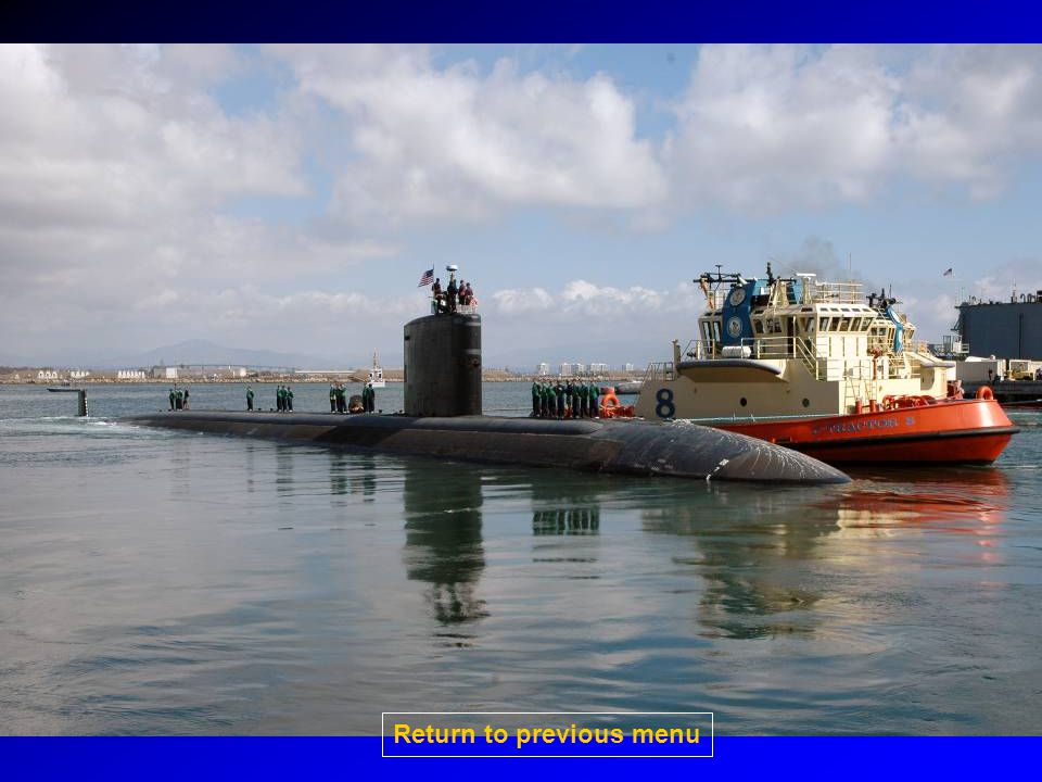 SSN-21 Seawolf-class Fast attack submarine Capable of ASW/ASUW/Strike SSN-23 has extended hull to support SOF Sail has a wedge in front to reduce flow noise No VLS 8 torpedo tubes Capable of carrying torpedos, mines, TLAM and Harpoon Nuclear powered Click on picture for larger image Return to previous menu