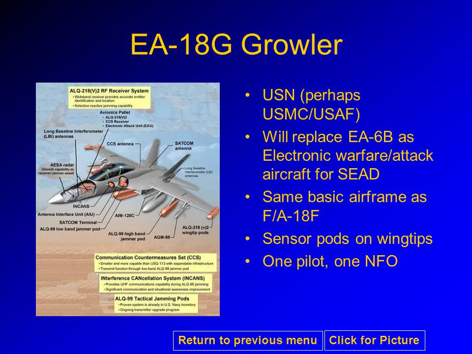 EA-18G Growler USN (perhaps USMC/USAF) Will replace EA-6B as Electronic warfare/attack aircraft for SEAD Same basic airframe as F/A-18F Sensor pods on wingtips One pilot, one NFO Return to previous menu Click for Picture