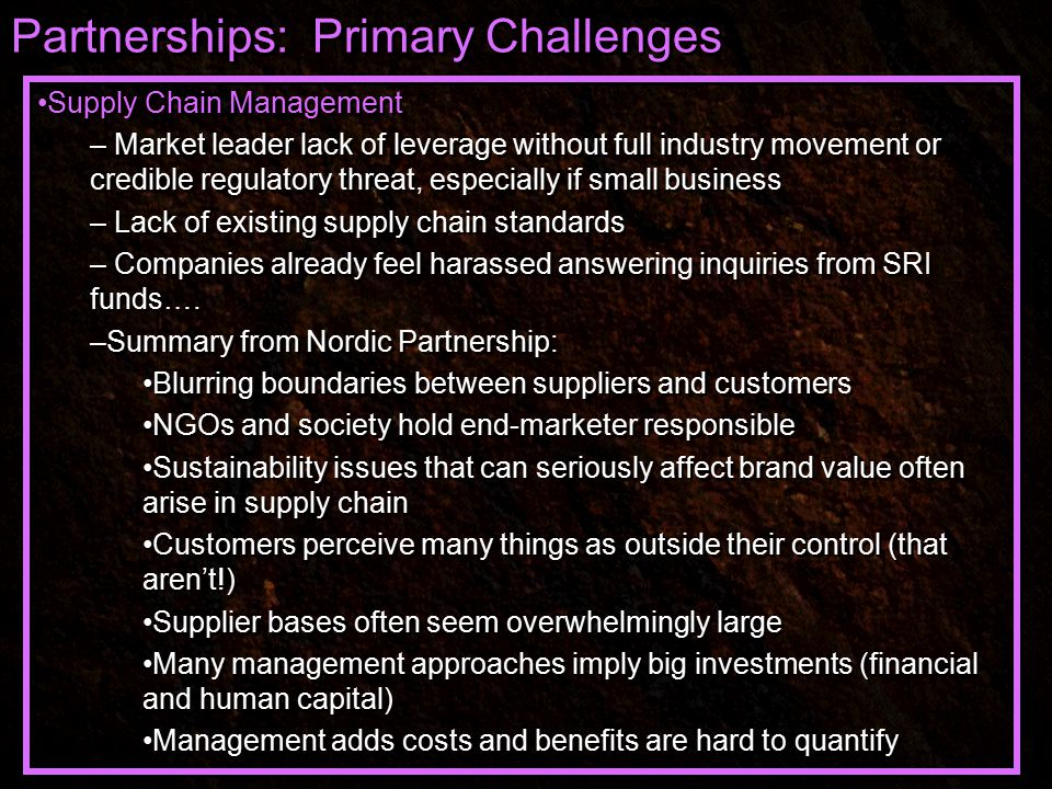 Partnerships: Primary Challenges Supply Chain Management – Market leader lack of leverage without full industry movement or credible regulatory threat, especially if small business – Lack of existing supply chain standards – Companies already feel harassed answering inquiries from SRI funds….