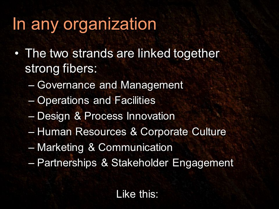 In any organization The two strands are linked together strong fibers: –Governance and Management –Operations and Facilities –Design & Process Innovation –Human Resources & Corporate Culture –Marketing & Communication –Partnerships & Stakeholder Engagement Like this: The two strands are linked together strong fibers: –Governance and Management –Operations and Facilities –Design & Process Innovation –Human Resources & Corporate Culture –Marketing & Communication –Partnerships & Stakeholder Engagement Like this: