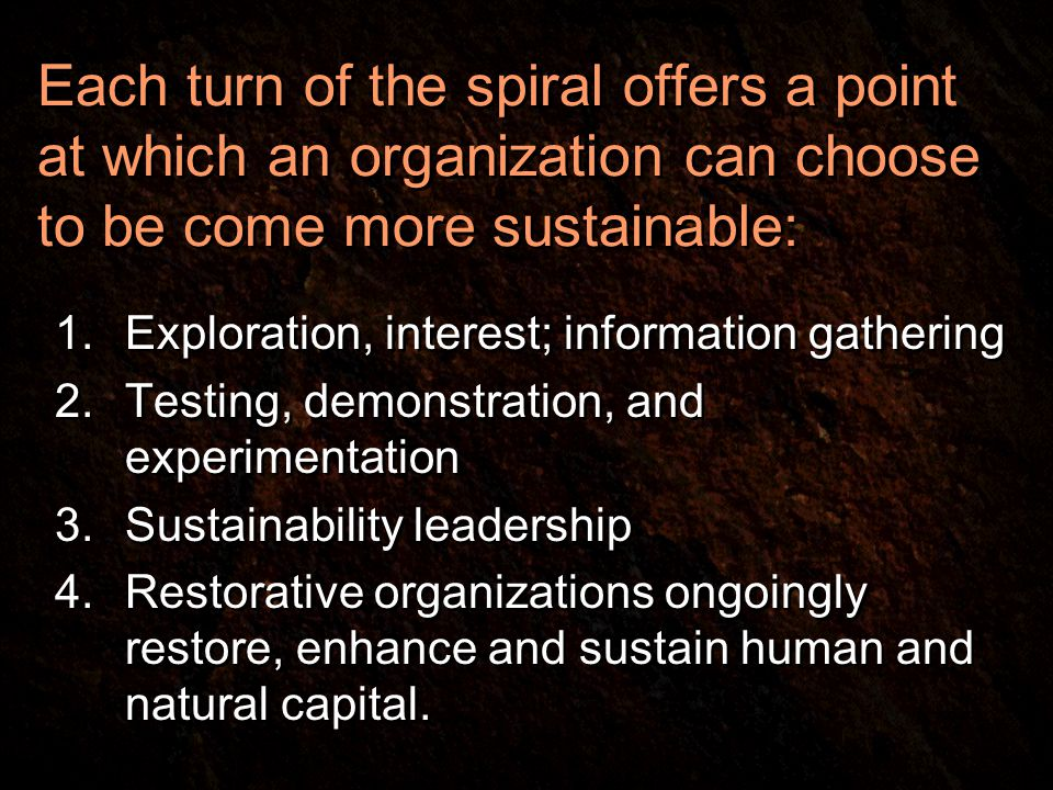 Each turn of the spiral offers a point at which an organization can choose to be come more sustainable: 1.Exploration, interest; information gathering 2.Testing, demonstration, and experimentation 3.Sustainability leadership 4.Restorative organizations ongoingly restore, enhance and sustain human and natural capital.