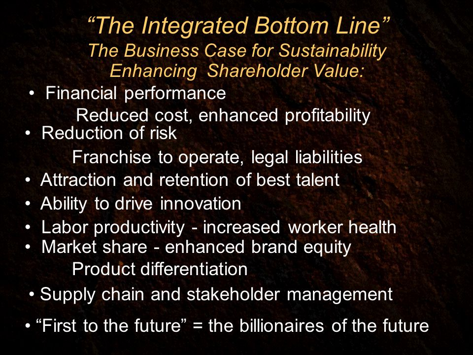 The Integrated Bottom Line The Business Case for Sustainability Enhancing Shareholder Value: Financial performance Reduced cost, enhanced profitability Reduction of risk Franchise to operate, legal liabilities Attraction and retention of best talent Ability to drive innovation Labor productivity - increased worker health Market share - enhanced brand equity Product differentiation Supply chain and stakeholder management First to the future = the billionaires of the future