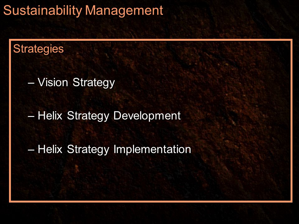 Sustainability Management Strategies – Vision Strategy – Helix Strategy Development – Helix Strategy Implementation Strategies – Vision Strategy – Helix Strategy Development – Helix Strategy Implementation