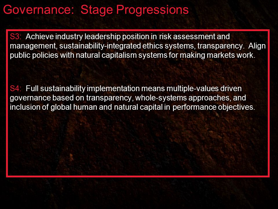 Governance: Stage Progressions S3: Achieve industry leadership position in risk assessment and management, sustainability-integrated ethics systems, transparency.