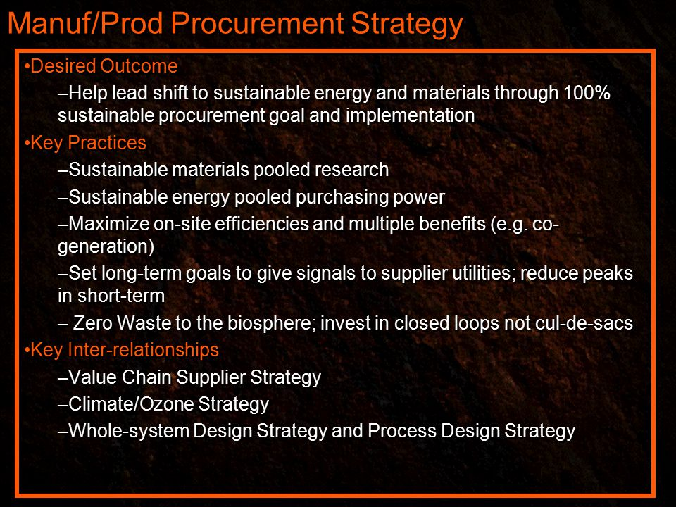 Manuf/Prod Procurement Strategy Desired Outcome –Help lead shift to sustainable energy and materials through 100% sustainable procurement goal and implementation Key Practices –Sustainable materials pooled research –Sustainable energy pooled purchasing power –Maximize on-site efficiencies and multiple benefits (e.g.