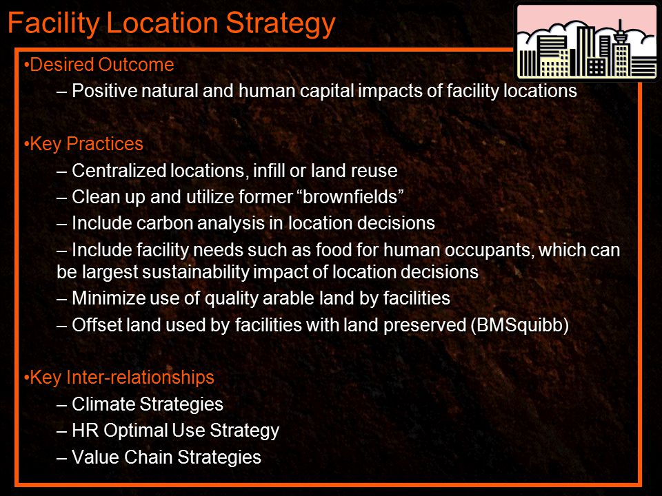 Facility Location Strategy Desired Outcome – Positive natural and human capital impacts of facility locations Key Practices – Centralized locations, infill or land reuse – Clean up and utilize former brownfields – Include carbon analysis in location decisions – Include facility needs such as food for human occupants, which can be largest sustainability impact of location decisions – Minimize use of quality arable land by facilities – Offset land used by facilities with land preserved (BMSquibb) Key Inter-relationships – Climate Strategies – HR Optimal Use Strategy – Value Chain Strategies Desired Outcome – Positive natural and human capital impacts of facility locations Key Practices – Centralized locations, infill or land reuse – Clean up and utilize former brownfields – Include carbon analysis in location decisions – Include facility needs such as food for human occupants, which can be largest sustainability impact of location decisions – Minimize use of quality arable land by facilities – Offset land used by facilities with land preserved (BMSquibb) Key Inter-relationships – Climate Strategies – HR Optimal Use Strategy – Value Chain Strategies