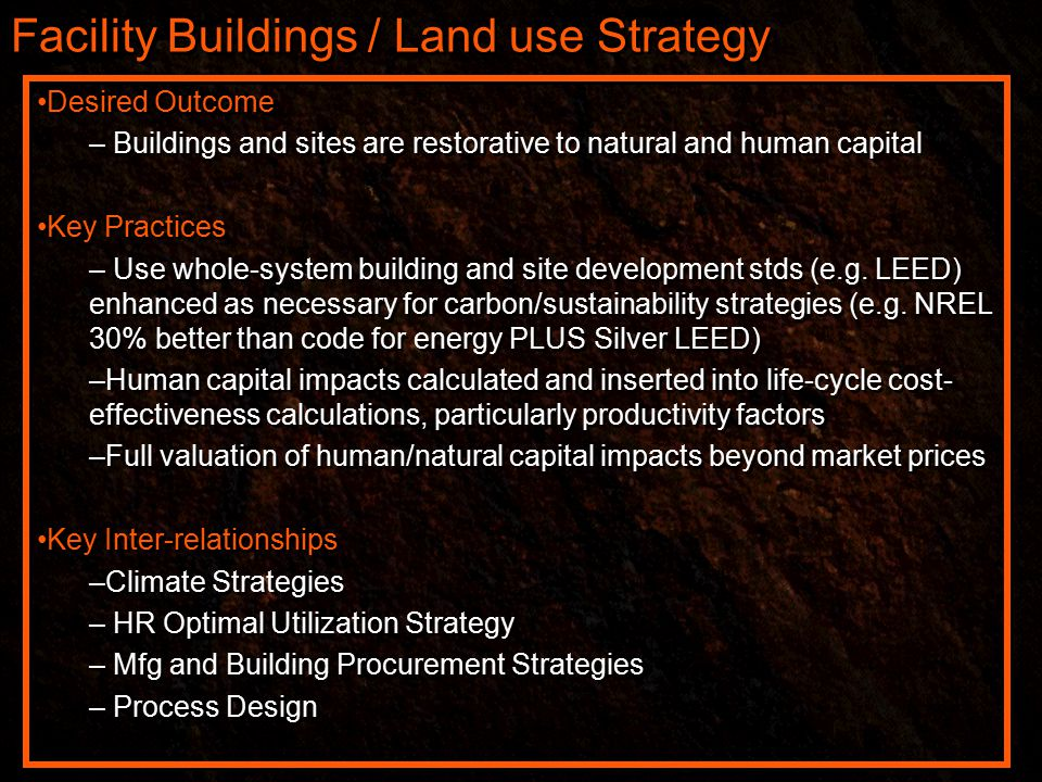 Facility Buildings / Land use Strategy Desired Outcome – Buildings and sites are restorative to natural and human capital Key Practices – Use whole-system building and site development stds (e.g.