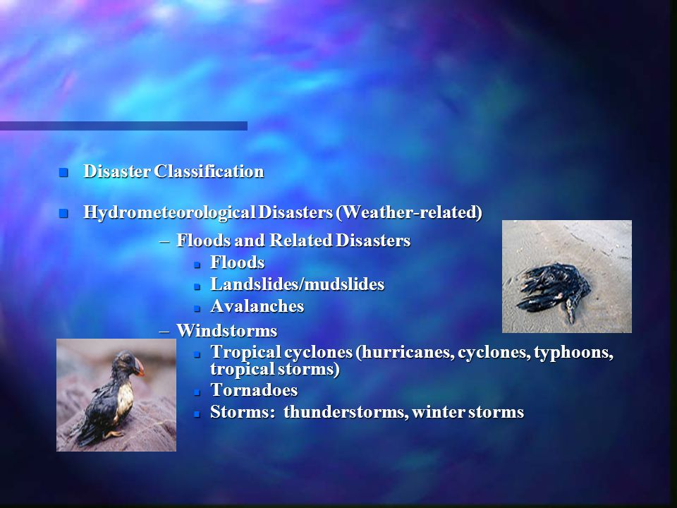 n Disaster Classification n Hydrometeorological Disasters (Weather-related) –Floods and Related Disasters n Floods n Landslides/mudslides n Avalanches –Windstorms n Tropical cyclones (hurricanes, cyclones, typhoons, tropical storms) n Tornadoes n Storms: thunderstorms, winter storms