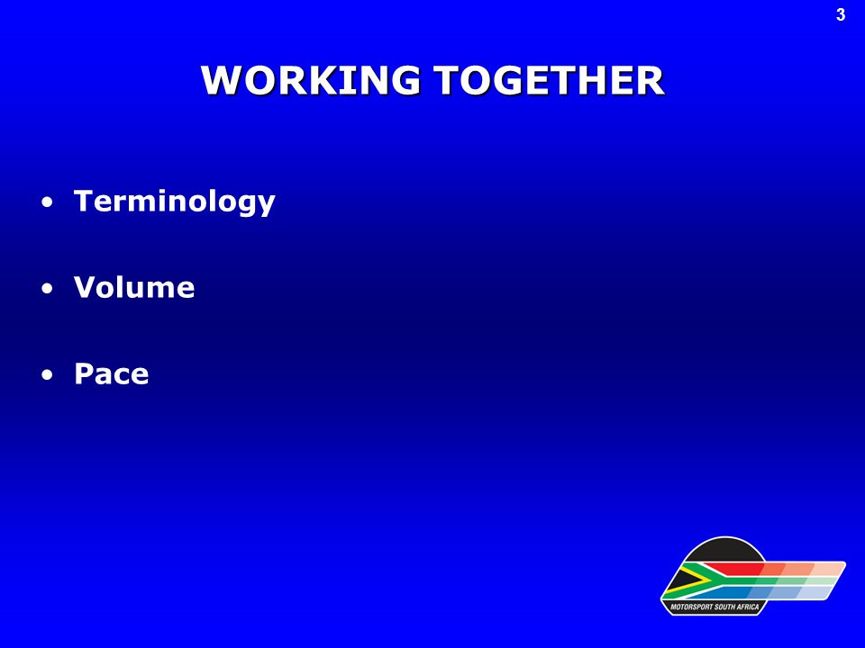 WORKING TOGETHER Terminology Volume Pace 3