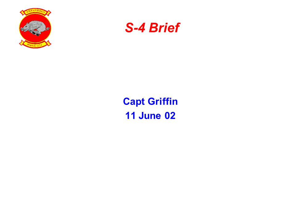 S-4 Brief Capt Griffin 11 June 02