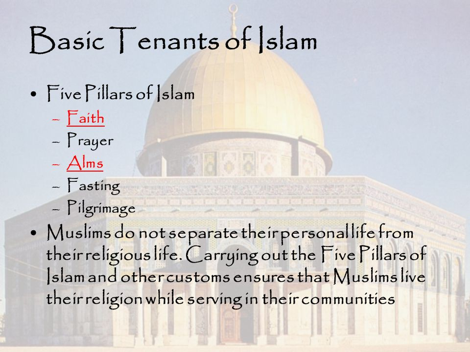 Basic Tenants of Islam Five Pillars of Islam –Faith –Prayer –Alms –Fasting –Pilgrimage Muslims do not separate their personal life from their religiou
