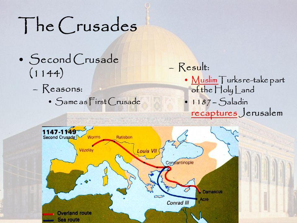 The Crusades Second Crusade (1144) –Reasons: Same as First Crusade –Result: Muslim Turks re-take part of the Holy Land 1187 – Saladin recaptures Jerus