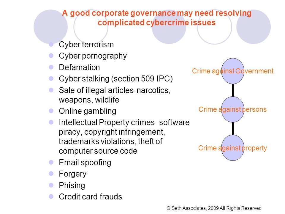A good corporate governance may need resolving complicated cybercrime issues Cyber terrorism Cyber pornography Defamation Cyber stalking (section 509