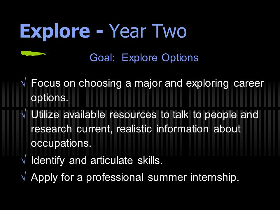 Explore - Year Two Goal: Explore Options  Focus on choosing a major and exploring career options.  Utilize available resources to talk to people and