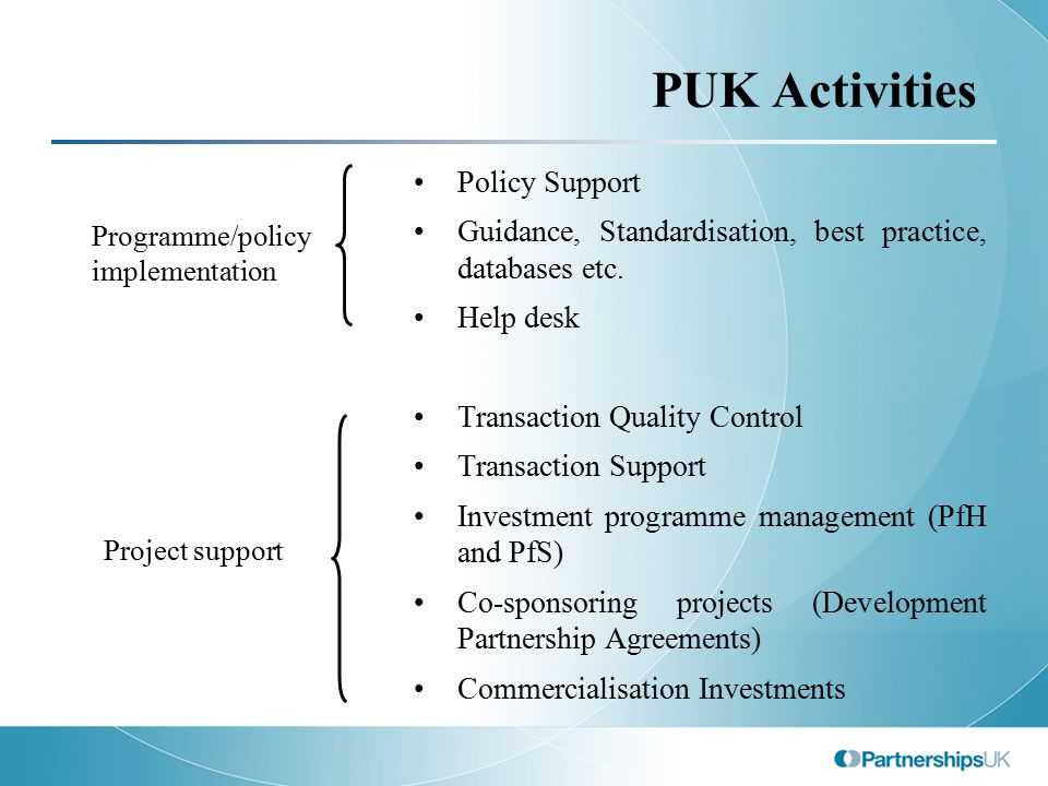 PUK Activities Policy Support Guidance, Standardisation, best practice, databases etc. Help desk Transaction Quality Control Transaction Support Inves