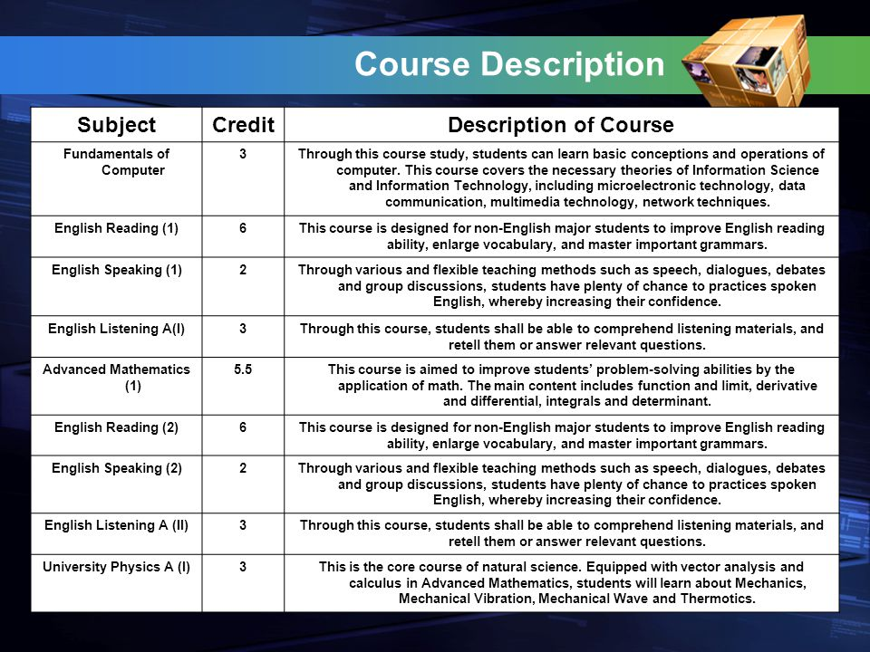 Course Description SubjectCreditDescription of Course Fundamentals of Computer 3Through this course study, students can learn basic conceptions and operations of computer.