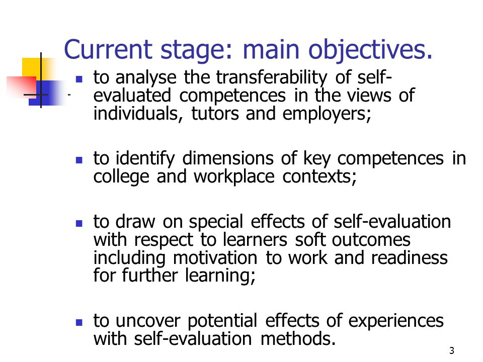 3 Current stage: main objectives.
