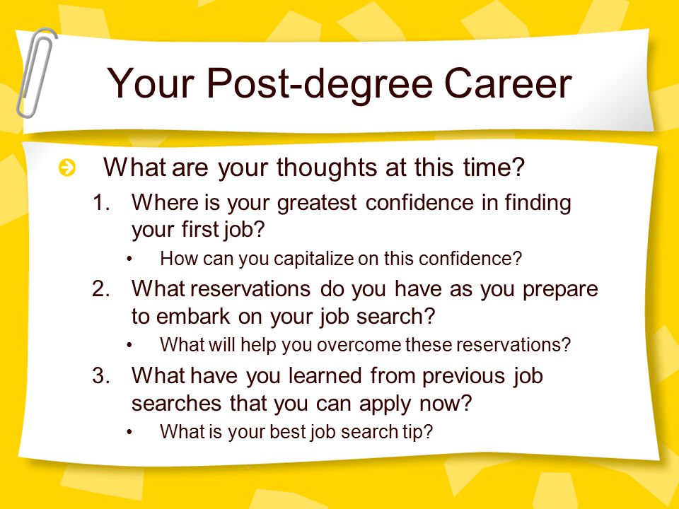 Your Post-degree Career What are your thoughts at this time.