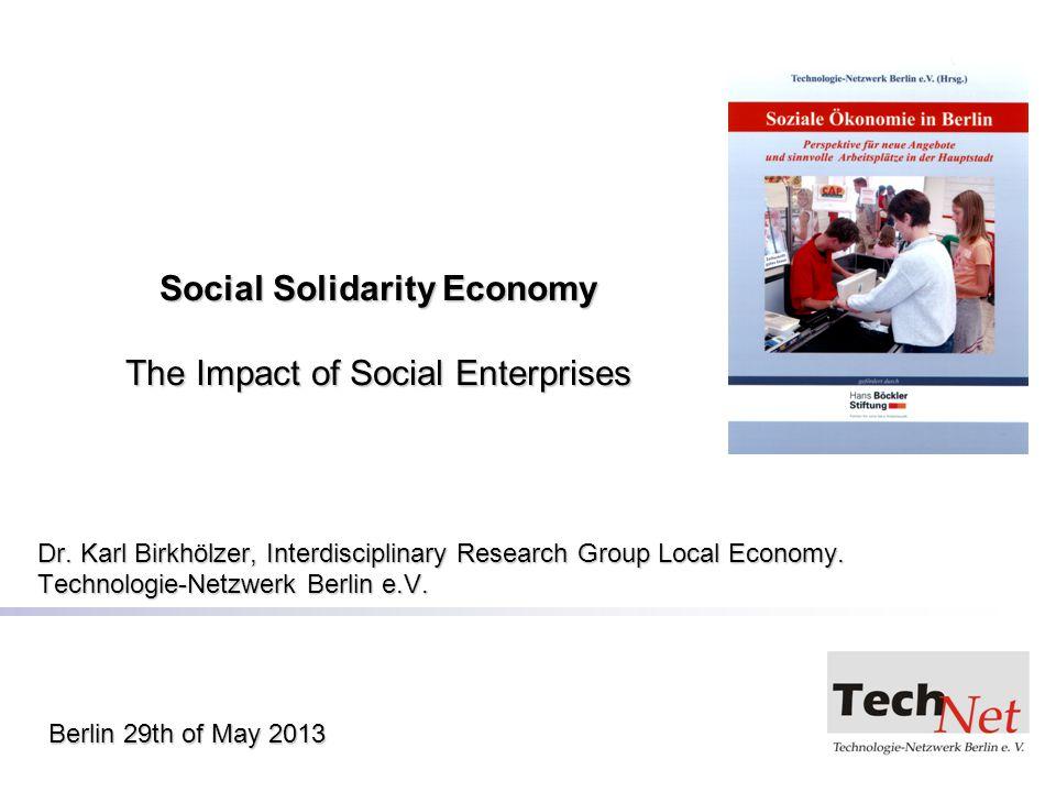 Social Solidarity Economy The Impact of Social Enterprises Dr.
