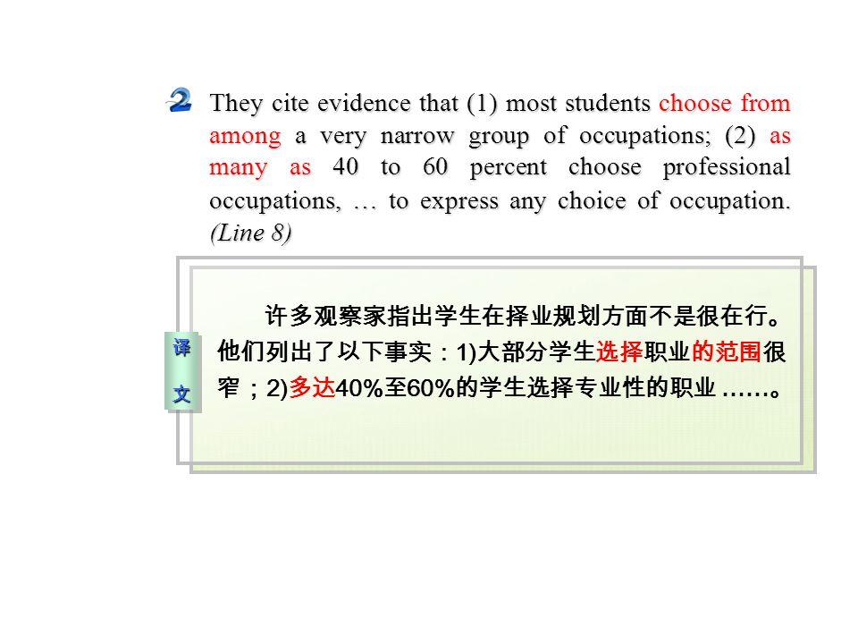 译 文译 文译 文译 文 译 文译 文译 文译 文 许多观察家指出学生在择业规划方面不是很在行。 他们列出了以下事实: 1) 大部分学生选择职业的范围很 窄; 2) 多达 40% 至 60% 的学生选择专业性的职业 …… 。 They cite evidence that (1) most students choose from among a very narrow group of occupations; (2) as many as 40 to 60 percent choose professional occupations, … to express any choice of occupation.