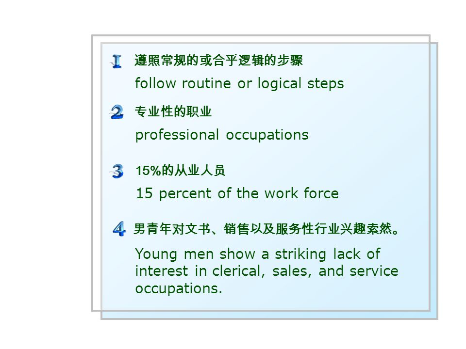 follow routine or logical steps 15 percent of the work force professional occupations 遵照常规的或合乎逻辑的步骤 15% 的从业人员 专业性的职业 Young men show a striking lack of interest in clerical, sales, and service occupations.