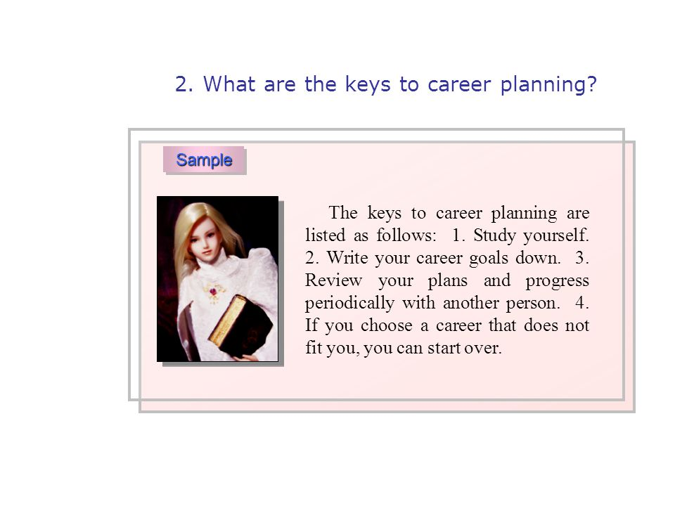 The keys to career planning are listed as follows: 1.
