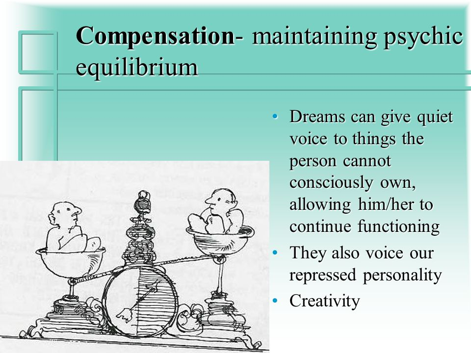 Compensation- maintaining psychic equilibrium Dreams can give quiet voice to things the person cannot consciously own, allowing him/her to continue functioning They also voice our repressed personality Creativity