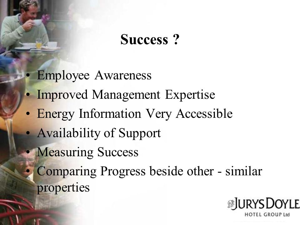 Success ? Employee Awareness Improved Management Expertise Energy Information Very Accessible Availability of Support Measuring Success Comparing Prog