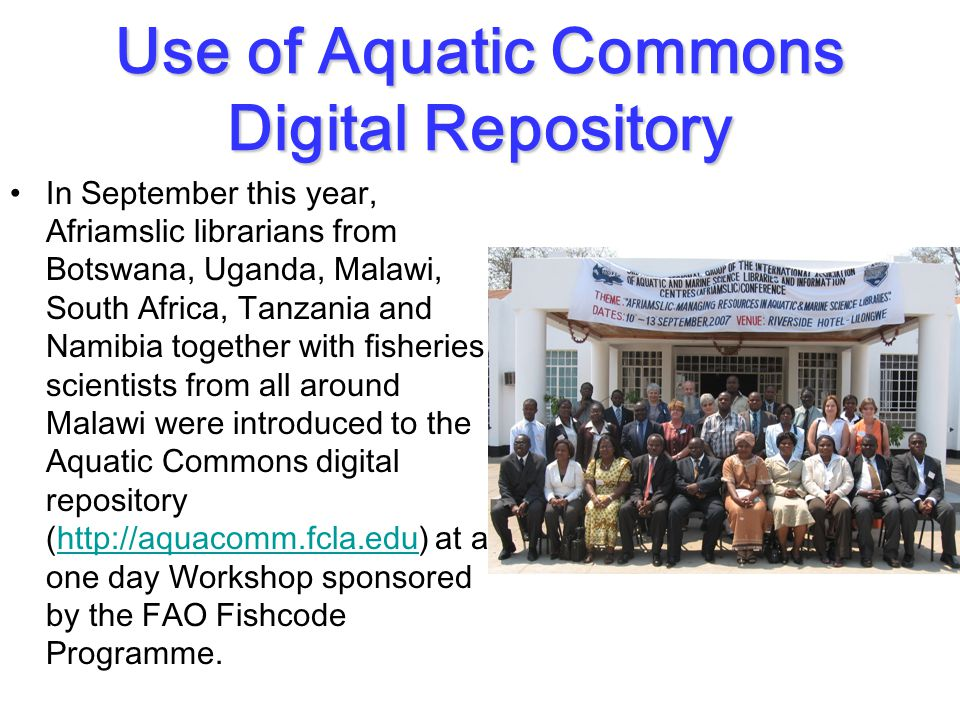 Use of Aquatic Commons Digital Repository In September this year, Afriamslic librarians from Botswana, Uganda, Malawi, South Africa, Tanzania and Namibia together with fisheries scientists from all around Malawi were introduced to the Aquatic Commons digital repository (http://aquacomm.fcla.edu) at a one day Workshop sponsored by the FAO Fishcode Programme.http://aquacomm.fcla.edu