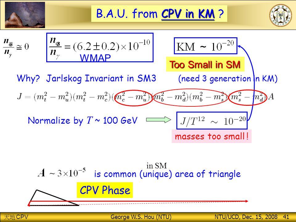 CPV George W.S.Hou (NTU) NTU/UCD, Dec. 15, 2008 41 WMAP CPV in KM B.A.U.