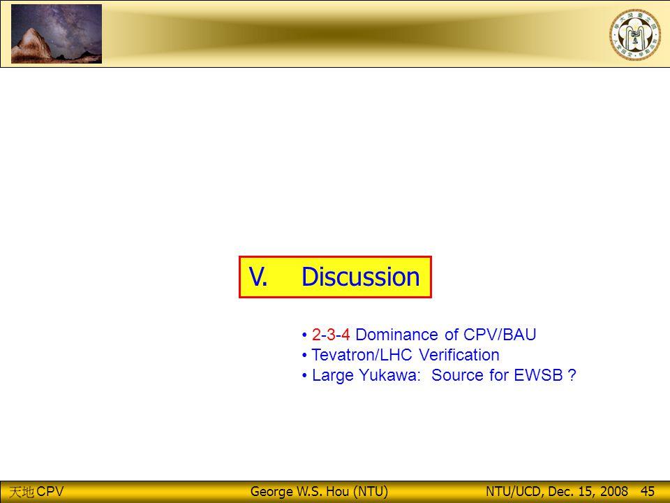 CPV George W.S.Hou (NTU) NTU/UCD, Dec. 15, 2008 45 V.