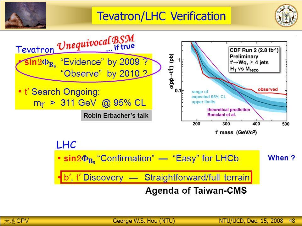 CPV George W.S.Hou (NTU) NTU/UCD, Dec. 15, 2008 48 sin 2  B s Evidence by 2009 .
