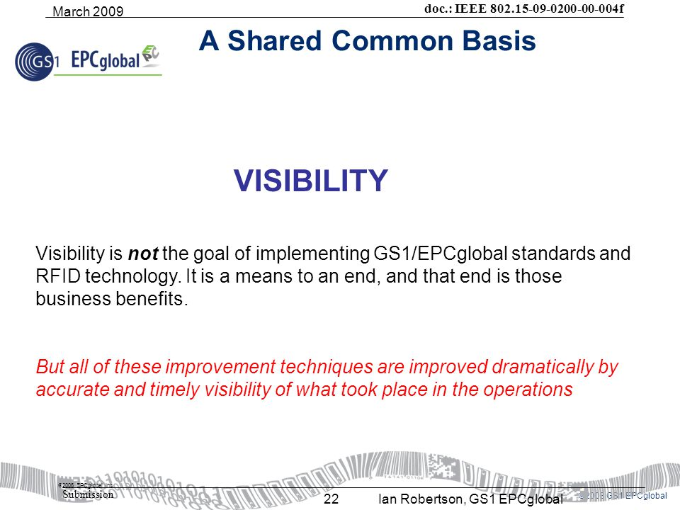 ©2008 GS1 EPCglobal doc.: IEEE 802.15-09-0200-00-004f Submission March 2009 Ian Robertson, GS1 EPCglobal22 A Shared Common Basis  2006 EPCglobal Inc Visibility is not the goal of implementing GS1/EPCglobal standards and RFID technology.