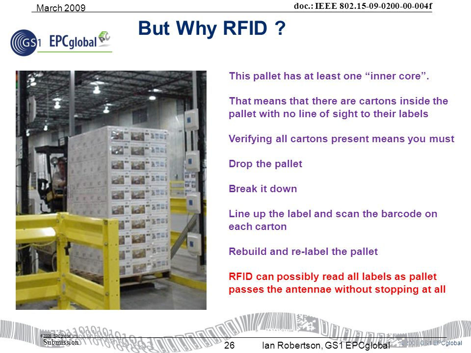©2008 GS1 EPCglobal doc.: IEEE 802.15-09-0200-00-004f Submission March 2009 Ian Robertson, GS1 EPCglobal26 But Why RFID .