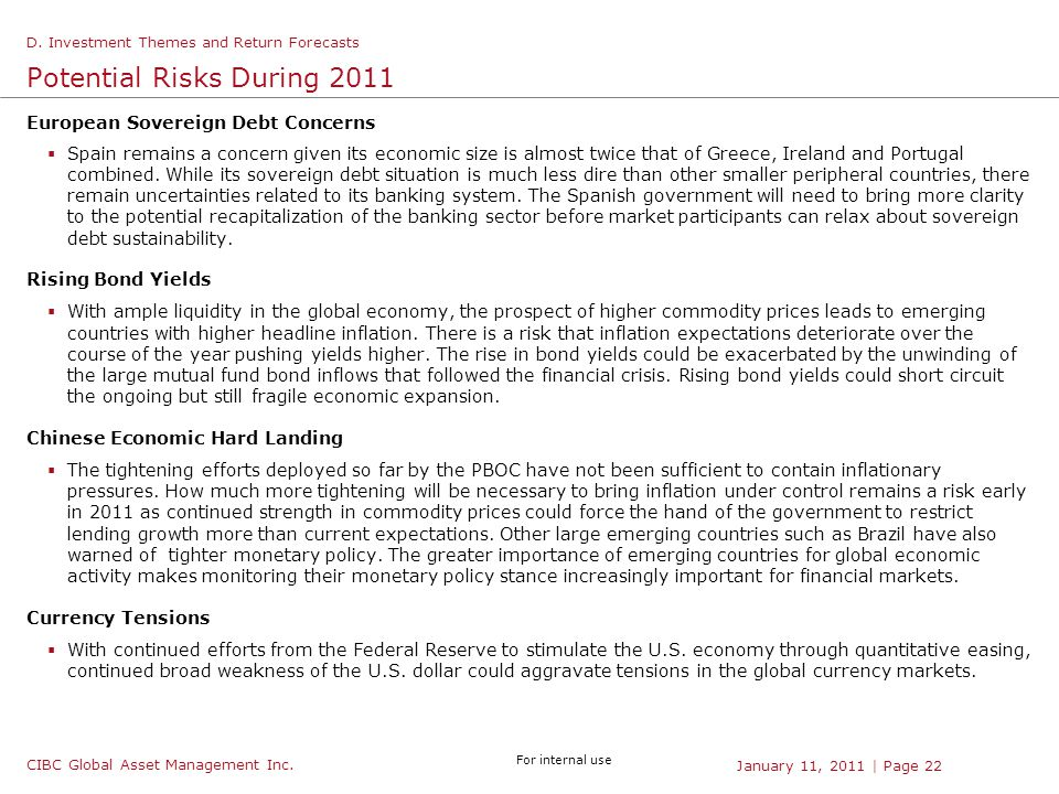 CIBC Global Asset Management Inc. For internal use | Page 22January 11, 2011 Potential Risks During 2011 European Sovereign Debt Concerns  Spain rema