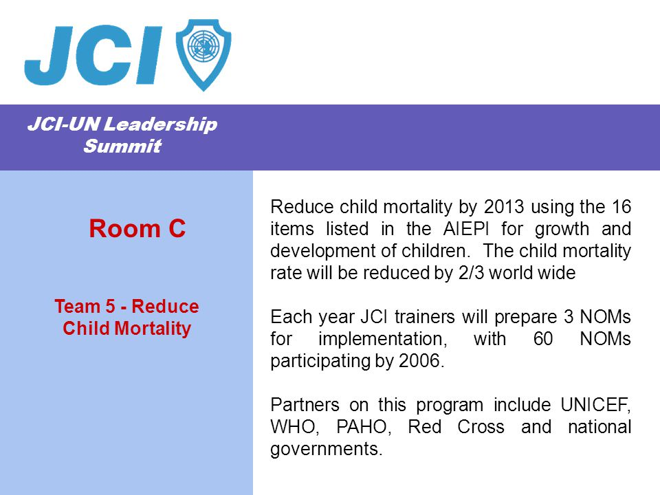 JCI-UN Leadership Summit Reduce child mortality by 2013 using the 16 items listed in the AIEPI for growth and development of children.