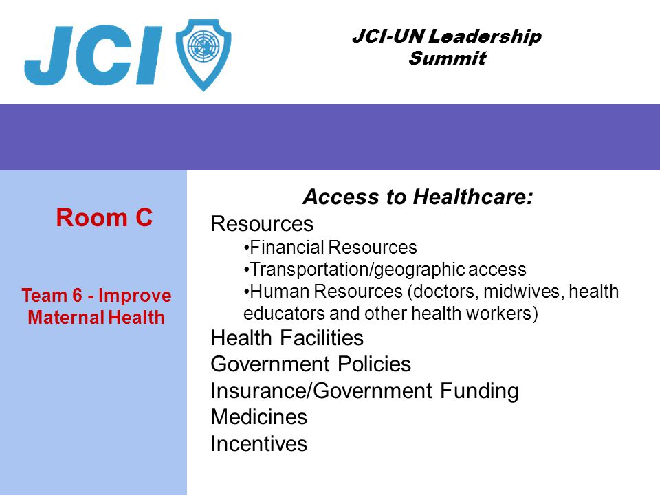 JCI-UN Leadership Summit Access to Healthcare: Resources Financial Resources Transportation/geographic access Human Resources (doctors, midwives, health educators and other health workers) Health Facilities Government Policies Insurance/Government Funding Medicines Incentives Team 6 - Improve Maternal Health Room C