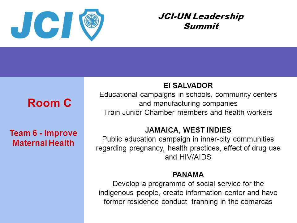 JCI-UN Leadership Summit El SALVADOR Educational campaigns in schools, community centers and manufacturing companies Train Junior Chamber members and health workers JAMAICA, WEST INDIES Public education campaign in inner-city communities regarding pregnancy, health practices, effect of drug use and HIV/AIDS PANAMA Develop a programme of social service for the indigenous people, create information center and have former residence conduct tranning in the comarcas Team 6 - Improve Maternal Health Room C