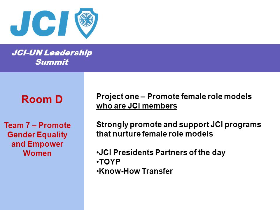 JCI-UN Leadership Summit Project one – Promote female role models who are JCI members Strongly promote and support JCI programs that nurture female role models JCI Presidents Partners of the day TOYP Know-How Transfer Team 7 – Promote Gender Equality and Empower Women Room D