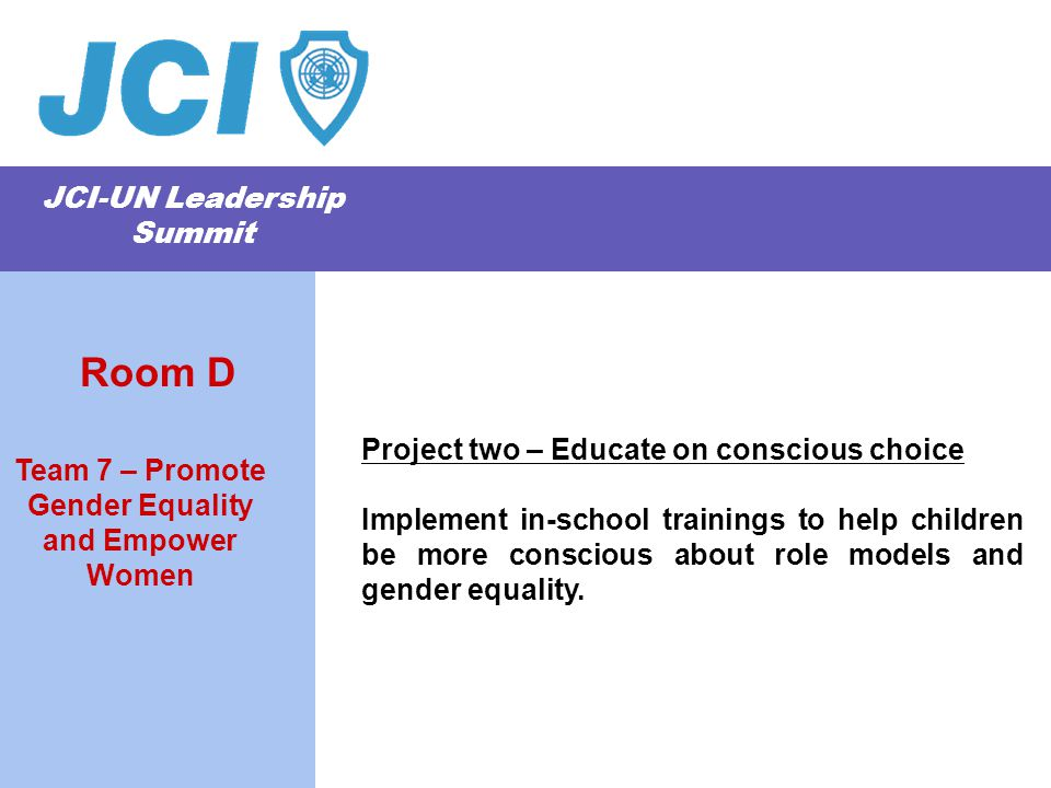 JCI-UN Leadership Summit Project two – Educate on conscious choice Implement in-school trainings to help children be more conscious about role models