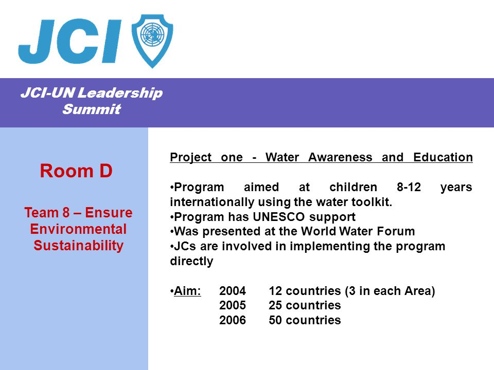 JCI-UN Leadership Summit Project one - Water Awareness and Education Program aimed at children 8-12 years internationally using the water toolkit. Pro