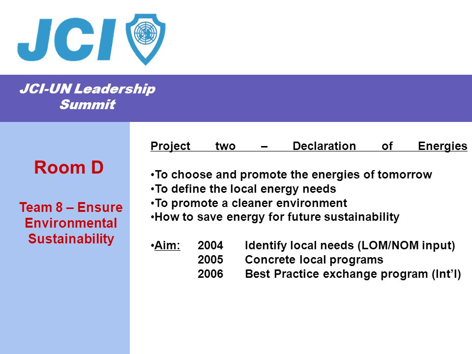 JCI-UN Leadership Summit Project two – Declaration of Energies To choose and promote the energies of tomorrow To define the local energy needs To promote a cleaner environment How to save energy for future sustainability Aim: 2004 Identify local needs (LOM/NOM input) 2005 Concrete local programs 2006 Best Practice exchange program (Int'l) Team 8 – Ensure Environmental Sustainability Room D