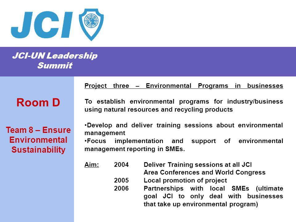 JCI-UN Leadership Summit Project three – Environmental Programs in businesses To establish environmental programs for industry/business using natural