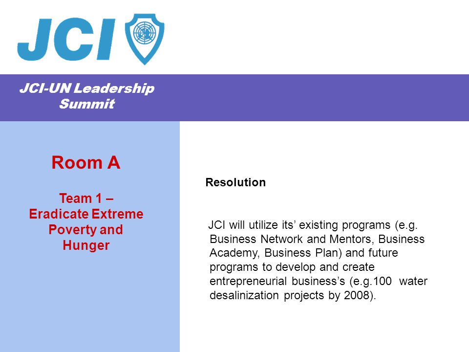 JCI-UN Leadership Summit Resolution JCI will utilize its' existing programs (e.g. Business Network and Mentors, Business Academy, Business Plan) and f