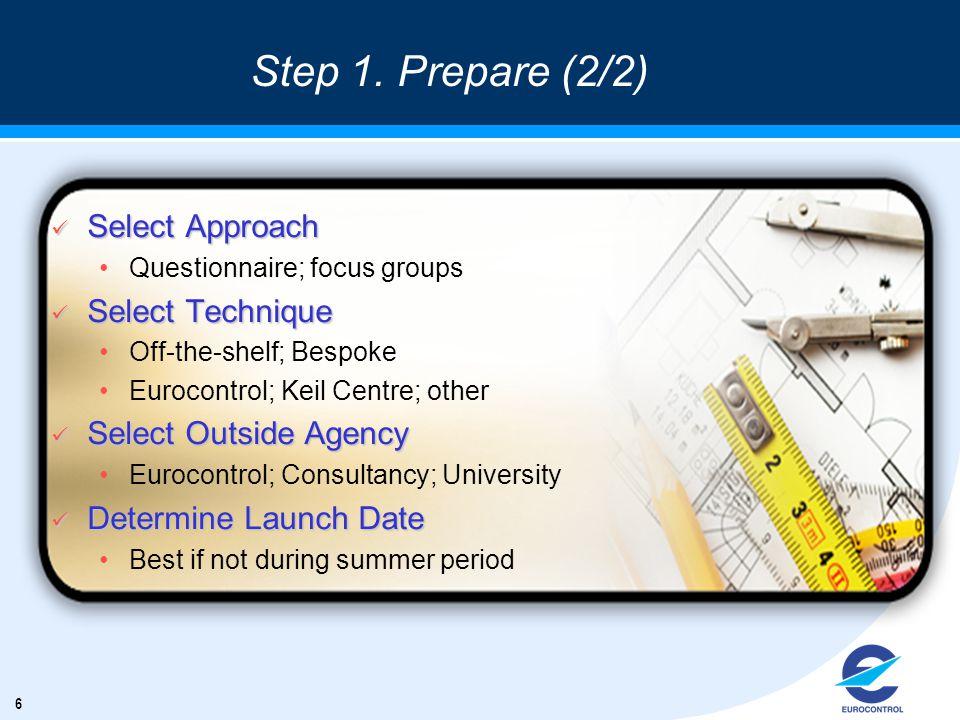 6 Step 1. Prepare (2/2) ü Select Approach Questionnaire; focus groups ü Select Technique Off-the-shelf; Bespoke Eurocontrol; Keil Centre; other ü Sele