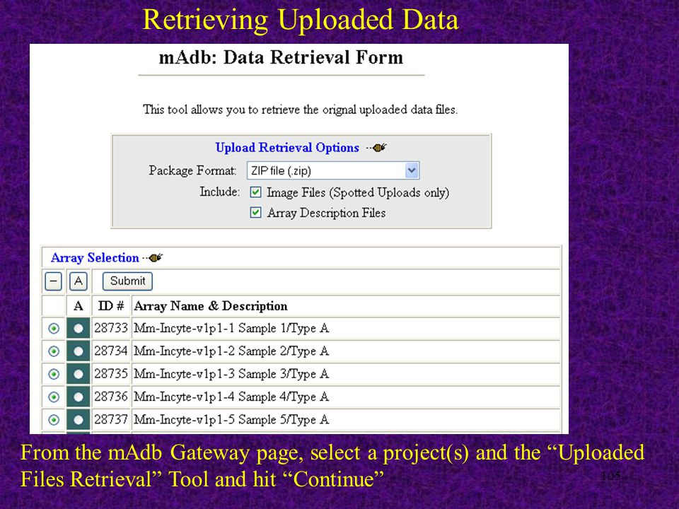 105 Retrieving Uploaded Data From the mAdb Gateway page, select a project(s) and the Uploaded Files Retrieval Tool and hit Continue
