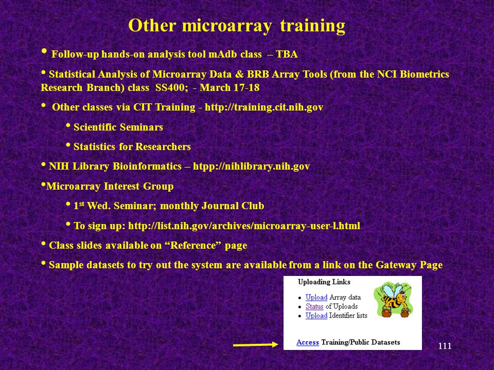 111 Other microarray training Follow-up hands-on analysis tool mAdb class – TBA Statistical Analysis of Microarray Data & BRB Array Tools (from the NCI Biometrics Research Branch) class SS400; - March 17-18 Other classes via CIT Training - http://training.cit.nih.gov Scientific Seminars Statistics for Researchers NIH Library Bioinformatics – htpp://nihlibrary.nih.gov Microarray Interest Group 1 st Wed.
