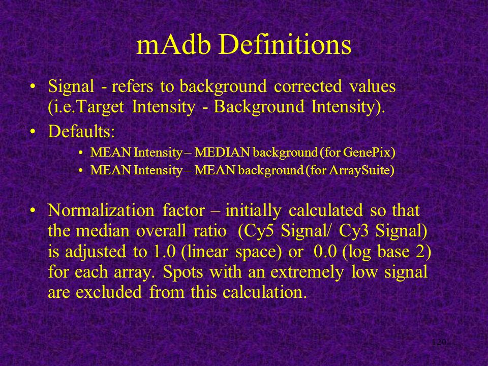 120 mAdb Definitions Signal - refers to background corrected values (i.e.Target Intensity - Background Intensity).
